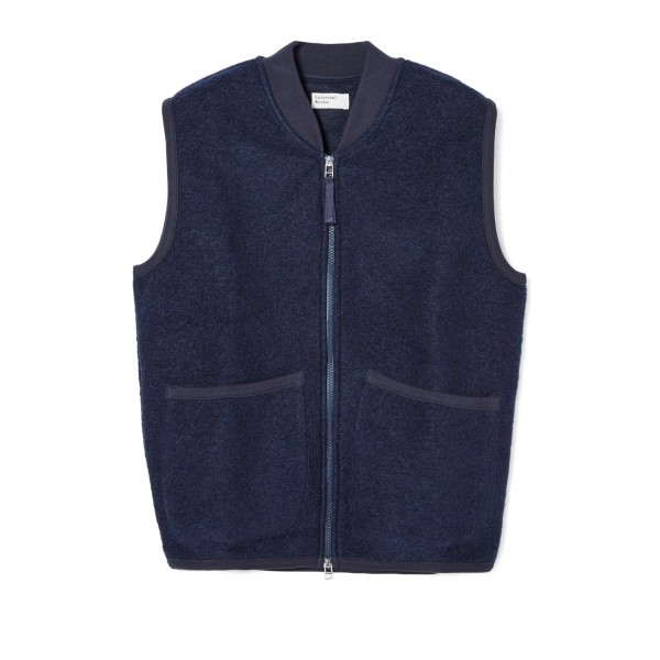 Universal Works Zip Waistcoat (Navy Wool Fleece)