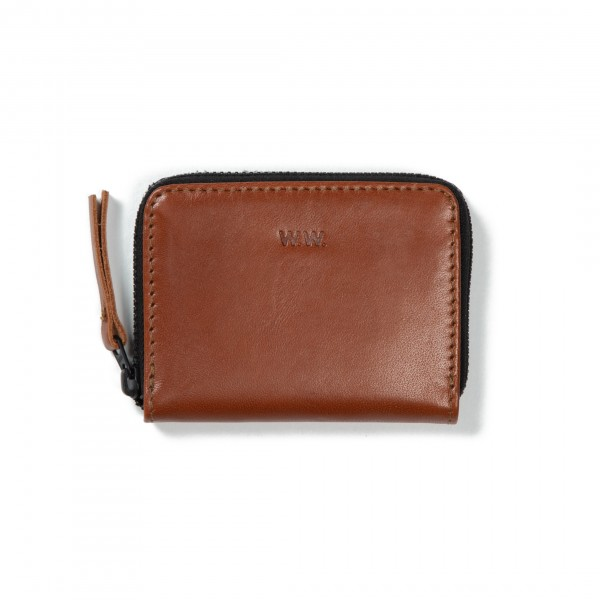 Wood Wood Card Zip Wallet (Brown Leather)