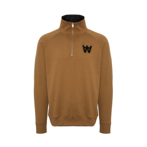 Wood Wood Curtis Quarter Zip Sweatshirt (Khaki)