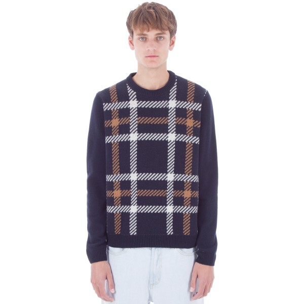 Wood Wood Latimer Sweater (Navy Check)