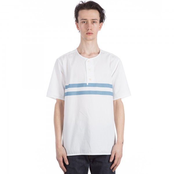 YMC Stripe Surf Short Sleeve Shirt (White/Blue)