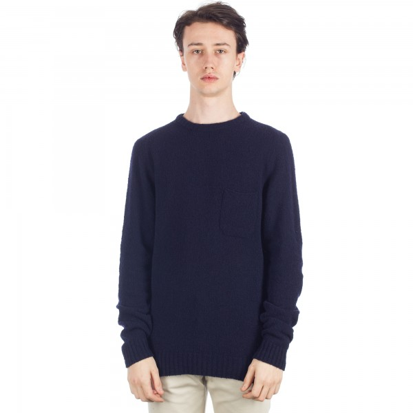 YMC Towelling Crew Neck Knitted Sweatshirt (Navy)