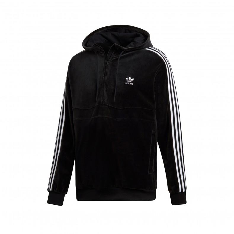 452bc7ab0 adidas Originals COZY Half Zip Pullover Hooded Sweatshirt (Black ...