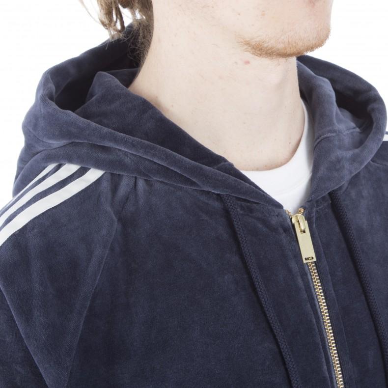 40bbdc67 adidas Originals Velour Full-Zip Hooded Sweatshirt (Legend Ink ...