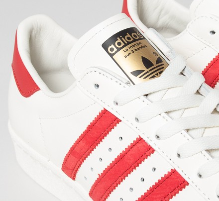 official photos ff26a 1f8dc Adidas Superstar 80s Deluxe (Vintage White S15-ST/Scarlet ...