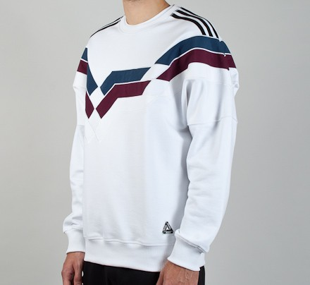 5651756537ab Adidas x Palace Stripe Crew Neck Sweatshirt (White) - Consortium.