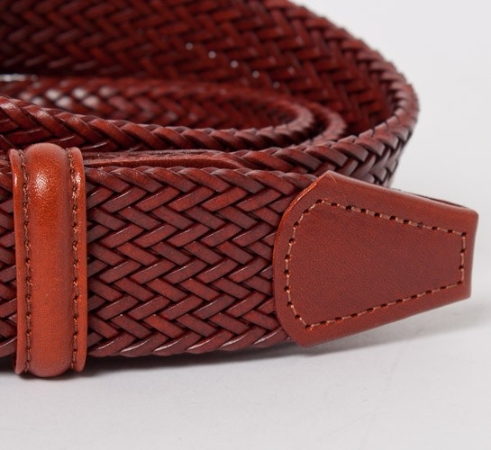 s plaited leather belt mid brown consortium