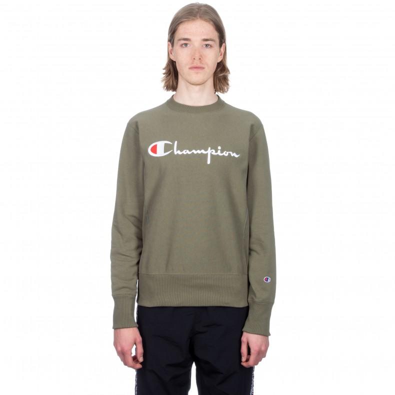 b14ac582 Champion Reverse Weave Script Applique Crew Neck Sweatshirt (Olive) -  Consortium