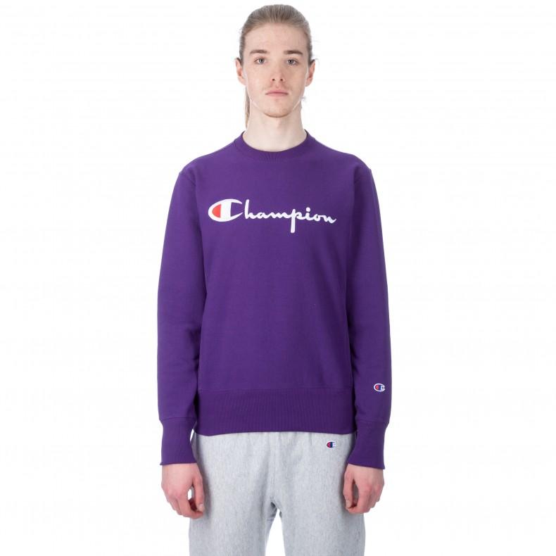 679e6b3f Champion Reverse Weave Script Applique Crew Neck Sweatshirt (Purple) -  Consortium.