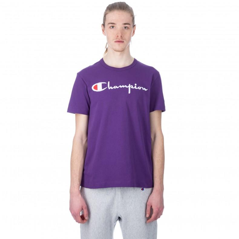 8b192151 Champion Reverse Weave Script Applique Crew Neck T-Shirt (Purple) -  Consortium.