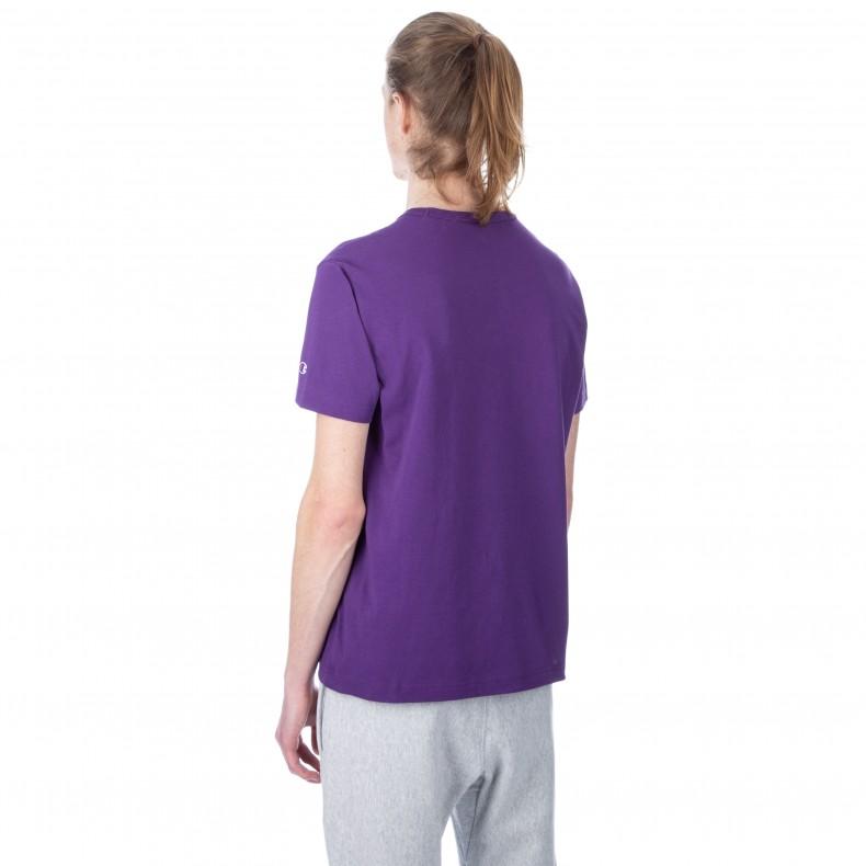 633bc7b19 Champion Reverse Weave Script Applique Crew Neck T-Shirt (Purple ...