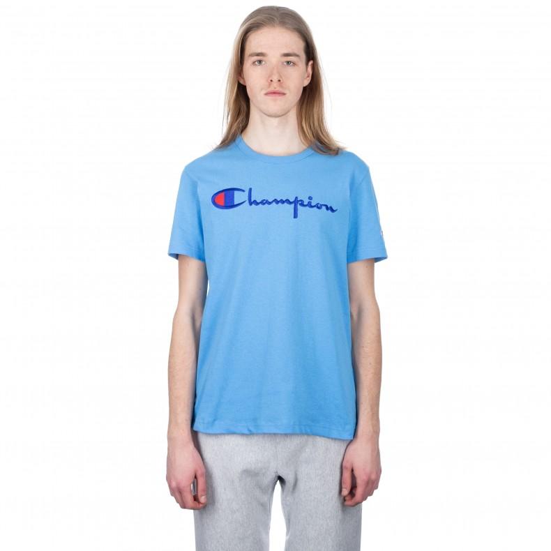 0012cc8b Champion Reverse Weave Script Applique Crew Neck T-Shirt (Sky Blue) -  Consortium.