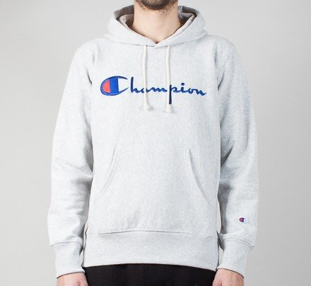 b9aecaa59af1 Champion Reverse Weave Script Applique Pullover Hooded Sweatshirt (Heather  Grey) - Consortium.