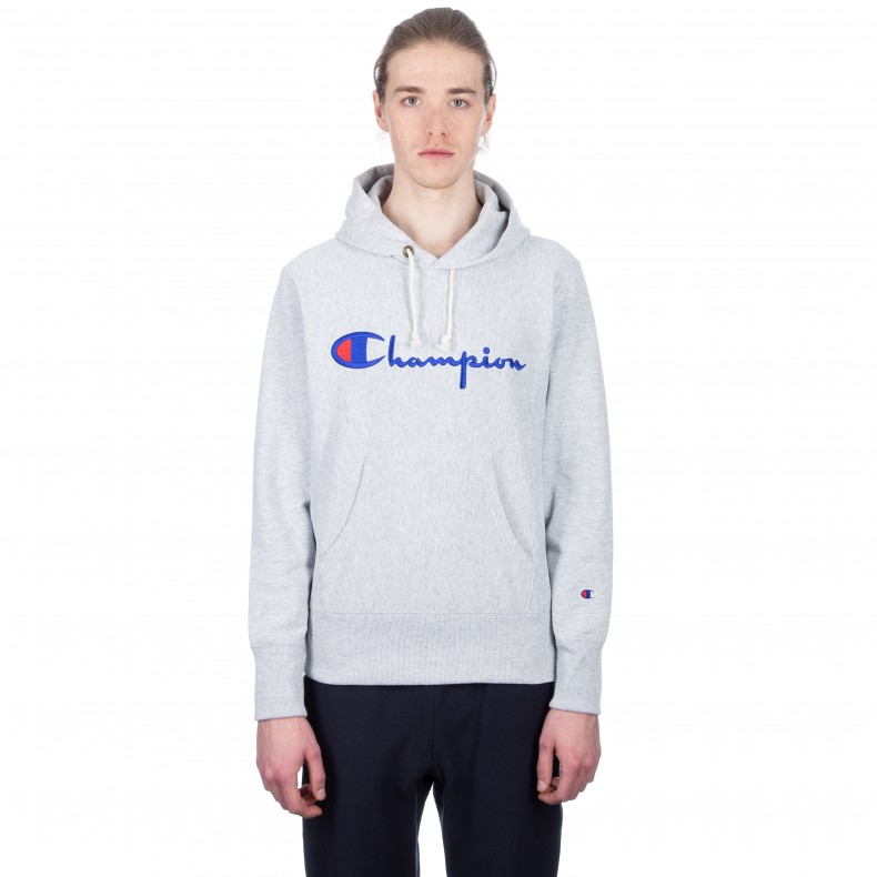 333ad9c2 Champion Reverse Weave Script Applique Pullover Hooded Sweatshirt (Light  Oxford Grey) - Consortium.