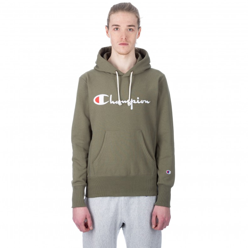 679d4e46045b Champion Reverse Weave Script Applique Pullover Hooded Sweatshirt. (Olive)