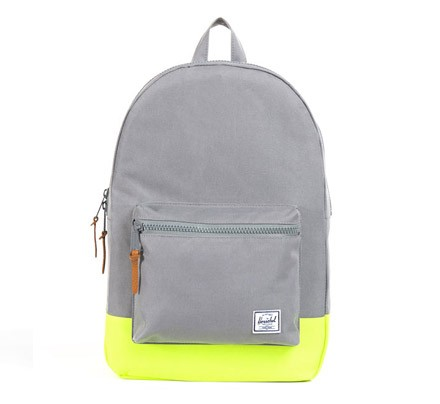 Herschel Settlement Backpack Grey Neon Yellow Rubber