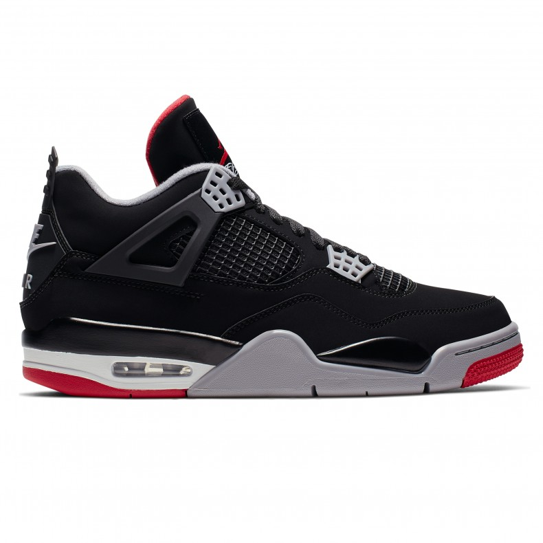 cf9d0f92f31 Jordan Brand Nike Air Jordan 4 Retro  Bred . (Black Fire Red-Cement Grey- Summit ...