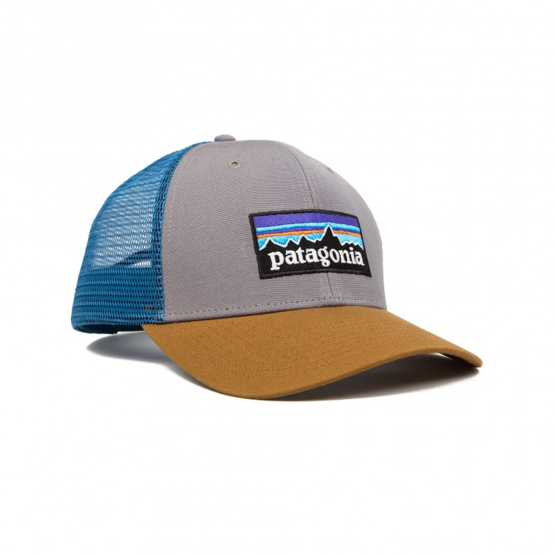 Patagonia P6 Trucker Snapback Cap (Feather Grey W Bear Brown) - Consortium. a15f8376dc5