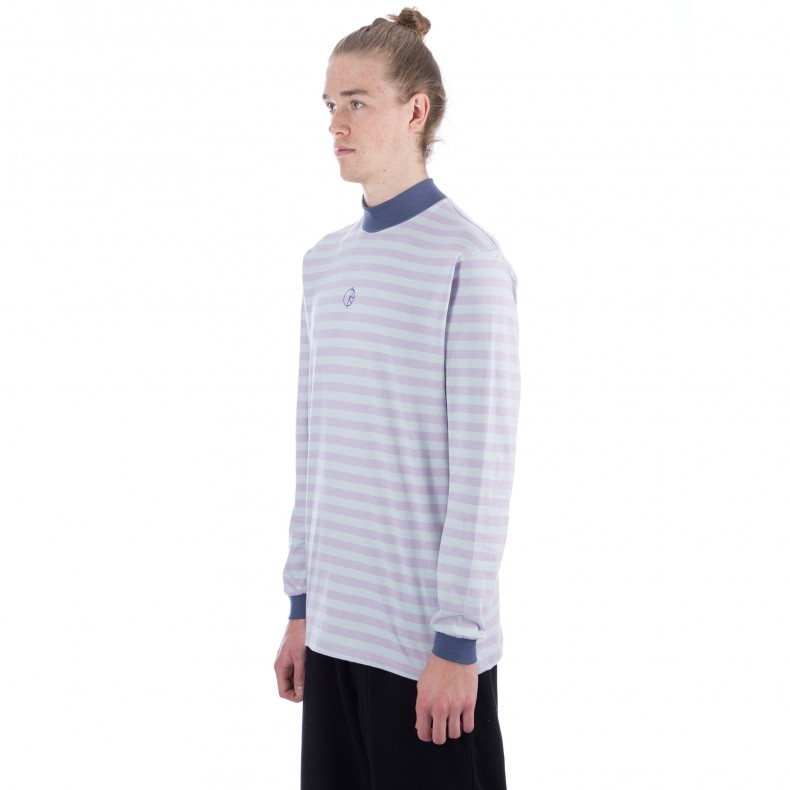 a5d530d208 Polar Striped Mockneck Long Sleeve T-Shirt (Dusty Tropez) - Consortium.