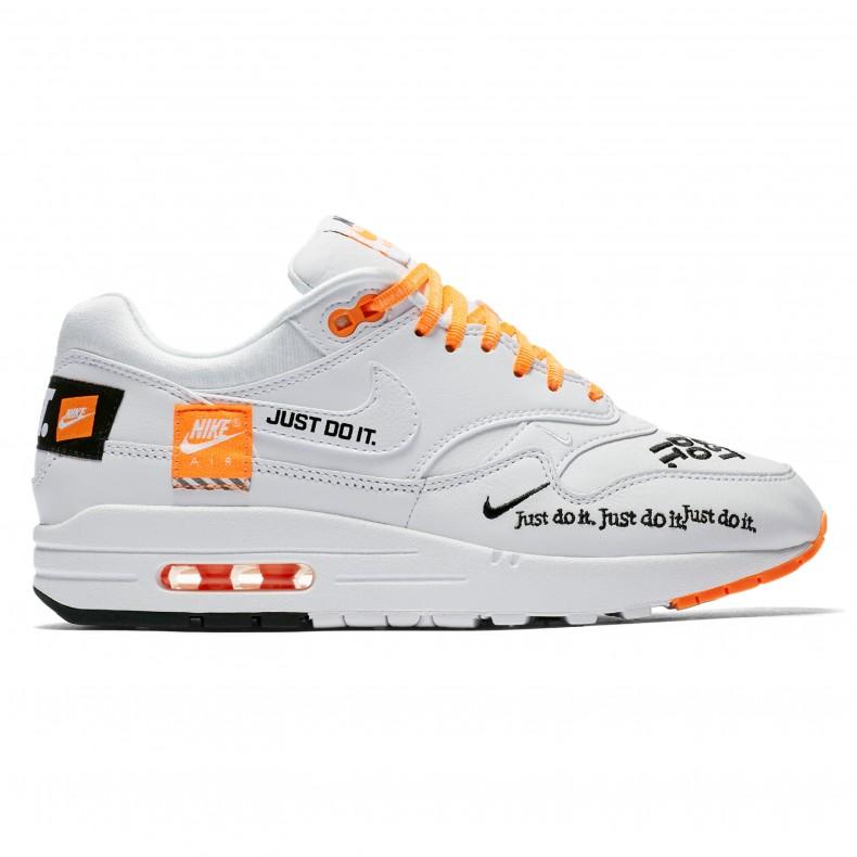 401c185eeb ... wholesale nike air max 1 lux wmns just do it white black total orange  consortium 987e5