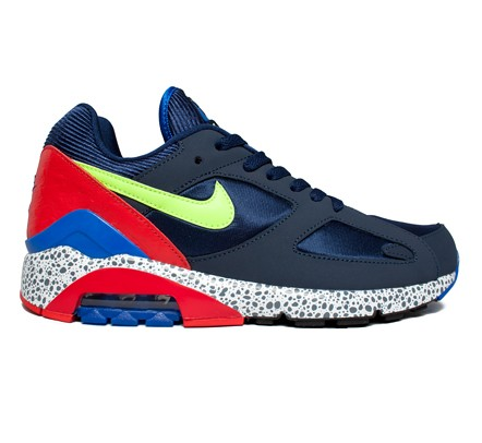 low priced 4e328 6aff1 Nike Air Max 180 (Midnight Navy Volt- Chilling Red) - Consortium