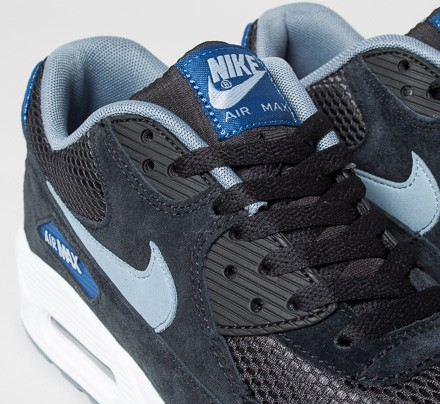 on feet shots of temperament shoes closer at Nike Air Max 90 Essential (Black/Dove Grey-Gym Blue-Blue ...