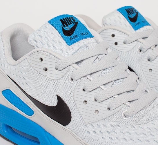 sale retailer 943f7 01c69 Nike Air Max 90 Premium Comfort EM. (Pure Platinum Black-Blue Hero)