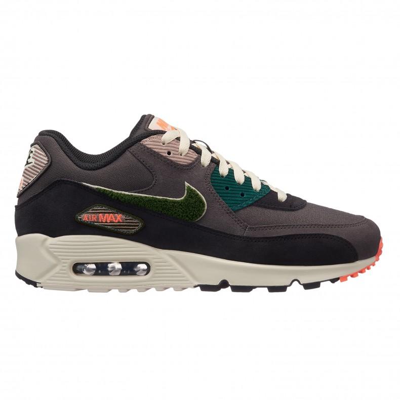 8b24102773 Nike Air Max 90 Premium SE 'Chenille Swoosh'. (Oil Grey/Rainforest-Light ...