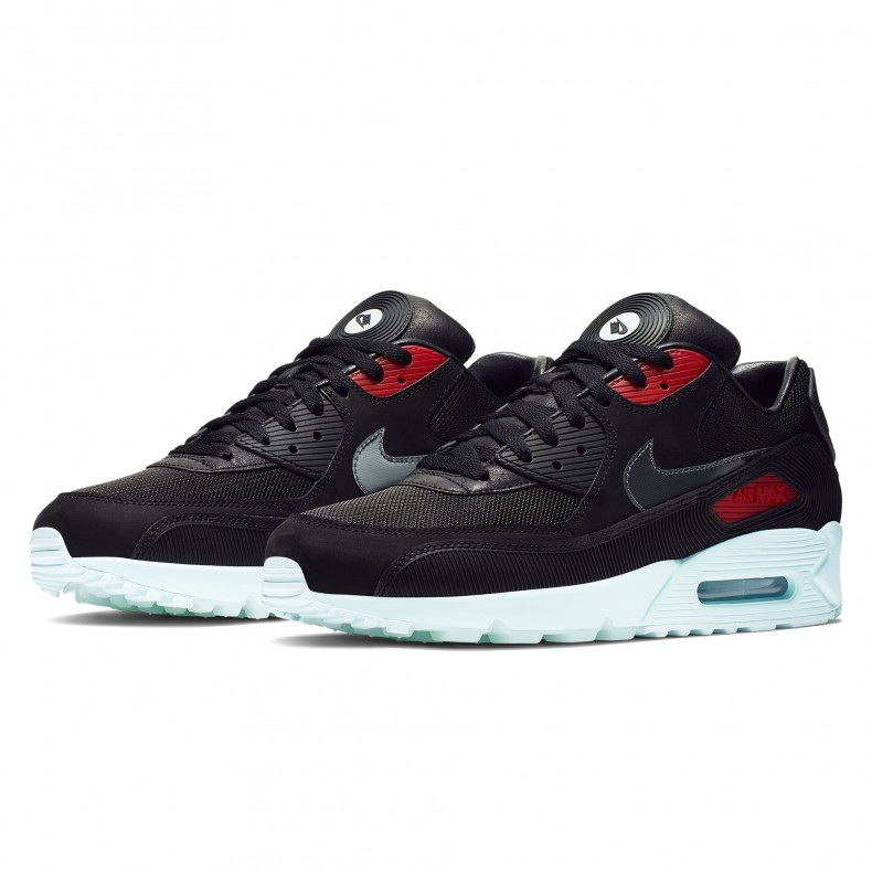 hot sale online bb4f3 48261 Nike Air Max 90 Premium 'Vinyl' (Black/Cool Grey-Teal Tint-University Red)