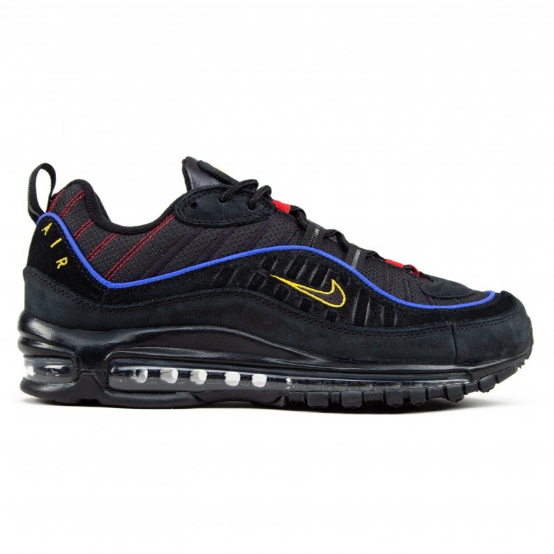 newest 68006 76102 Nike Air Max 98 'Black Blue' (Black/Black-Amarillo-University Red)