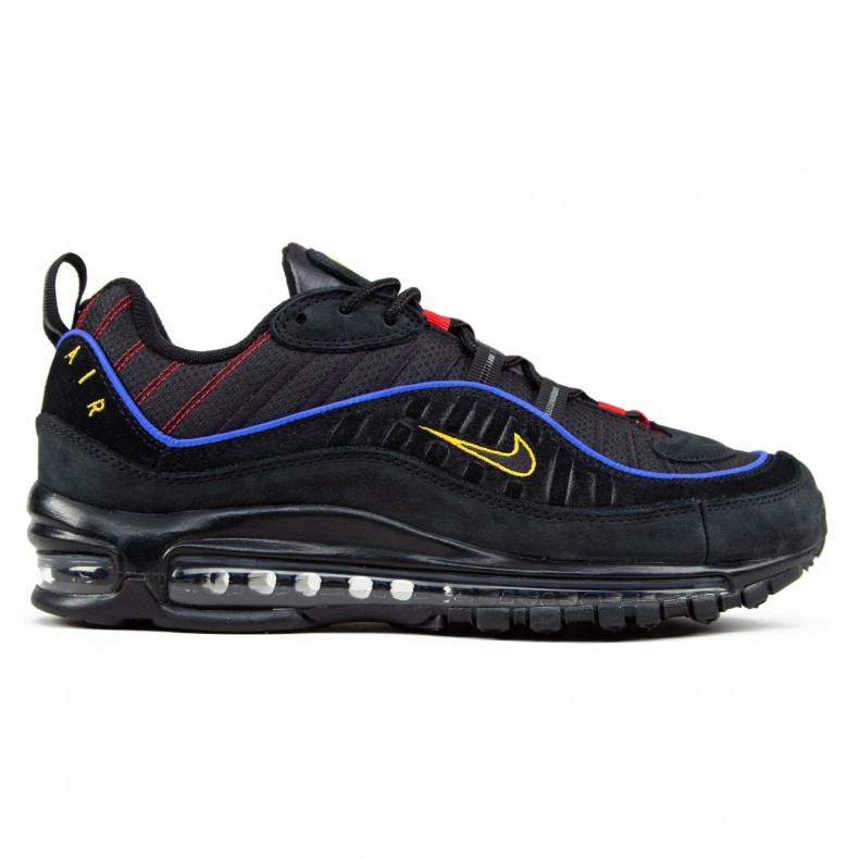 newest 6eaff 2cc24 Nike Air Max 98 'Black Blue' (Black/Black-Amarillo-University Red)
