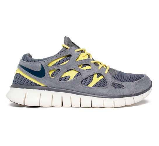 new style 0a738 fe4fb Nike Free Run 2 (Cool Grey Armory Navy-Cool Grey-Sonic Yellow) - Consortium.