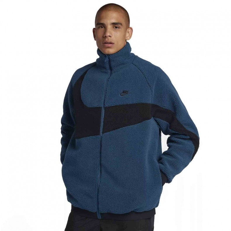 44e9d7a8899a Nike Vaporwave Reversible Swoosh Fleece Full Zip Jacket (Force Blue Black Black)  - AJ2701-474 - Consortium.