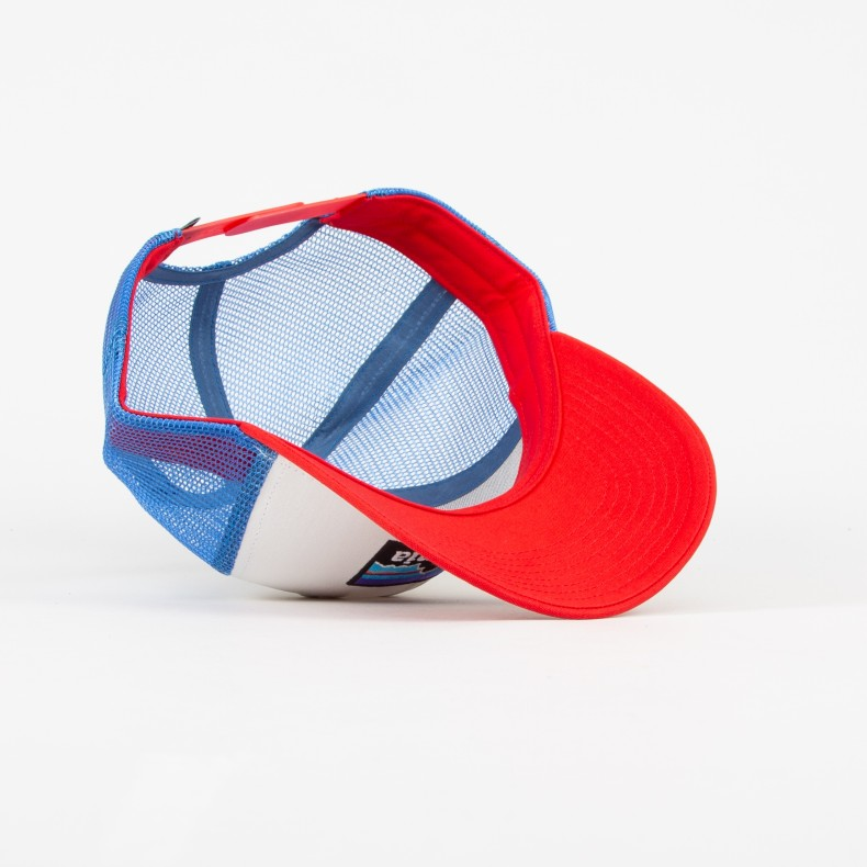 cf25bba34 Patagonia P-6 Logo Trucker Cap (White w/Fire/Andes Blue)