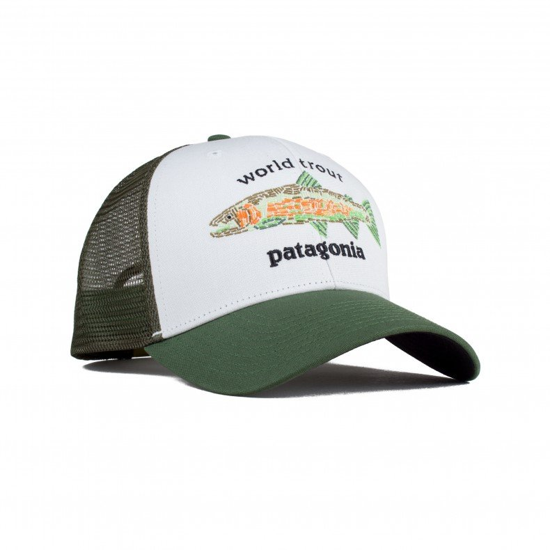 9c1d92b9 Patagonia World Trout Fishstitch Trucker Cap (White) - Consortium.