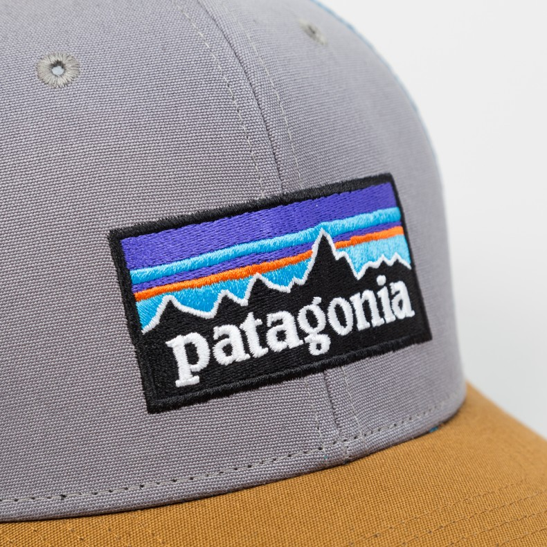 Patagonia P6 Trucker Snapback Cap (Feather Grey W Bear Brown) - Consortium. e4dd759fd54