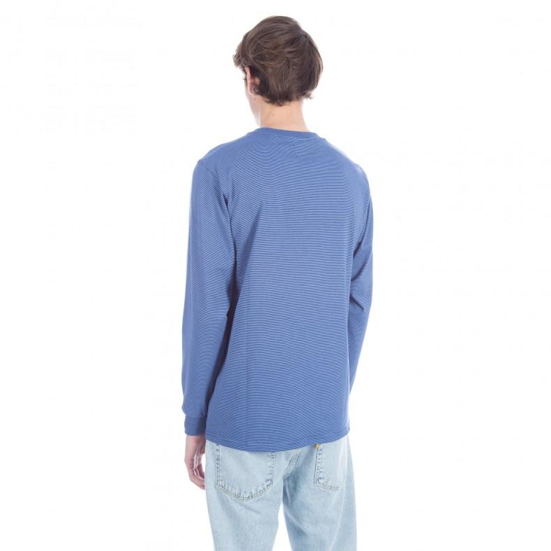 Polar micro striped long sleeve t shirt navy dusty blue for Navy blue striped long sleeve shirt