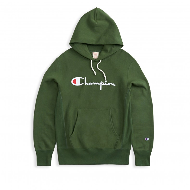e401e553 Champion Reverse Weave Script Applique Pullover Hooded Sweatshirt (Forest  Green) - 212574 GS536 BAF - Consortium.
