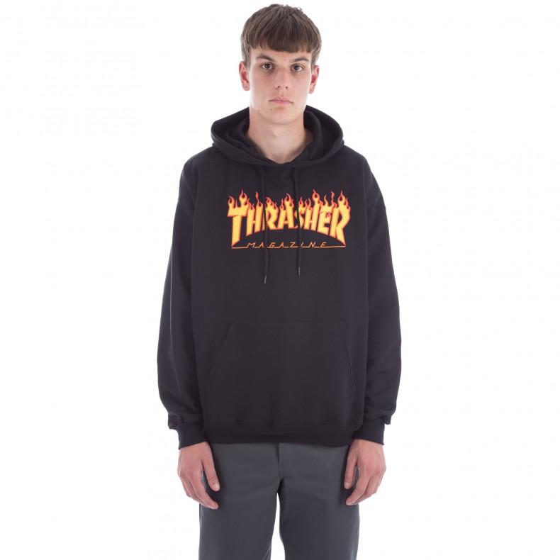 0665531a51ae Thrasher Flame Logo Pullover Hooded Sweatshirt (Black) - Consortium.