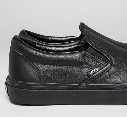 vans premium leather slip on black